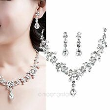Fashion Wedding Bridal Diamante Jewellery Set Crystal Necklace and Earrings Set
