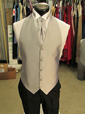 Mens Formal Vest Silver Size OSFA Matching Ascot