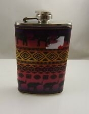 Elephant India Africa theme  stainless steel Flask purse size 5 oz