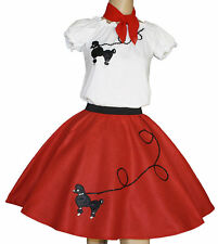 """3-Pc Red Poodle Skirt Outfit _ Adult Size Large _ Waist 35""""- 43"""""""