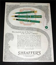 1926 OLD MAGAZINE PRINT AD, SHEAFFER'S, THE FOUNTAIN PEN FOR A LIFETIME, ART!
