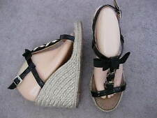 KATE SPADE Black Patent Leather Bow & Chain Espadrille Wedge Sandals 10 M