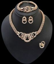 Crystal Womens Gold Statement Collar Bib Necklace Chain Bracelet Earrings Set