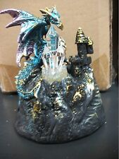 4.75 Inch Blue Dragon & Castle Figurine with Light Up LED Crystal