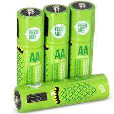 Rechargeable Batteries with Micro USB 4 Pack 1000mAh AA High-Capacity