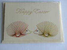 HANDMADE STITCHED EASTER CARD KISSING HEDGEHOGS