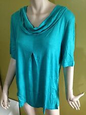 BNWT Ladies Sz 22 De Moda Brand Pretty Aqua Short Sleeve Cowl Neck T Shirt Top