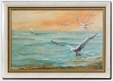 Seagull Ocean Oil Painting Mid Century Henry Ketting Olivier Listed Framed Small
