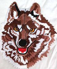AUFNÄHER Patch WOLF Wolfskopf braun 19 x 21,5 cm aufbügelbar