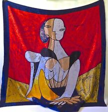 PICASSO CUBIST MOTIF PORTRAIT OF A WOMAN SILK SCARF...LARGE SIZE