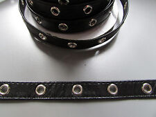 "Black Pleather Eyelet Trim/Tape 1cm 1/2""  Sewing/Costume/Crafts/Corsetry/Punk"