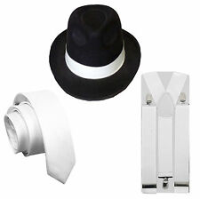 MENS GANGSTER 3PC BLACK HAT WHITE BRACES & TIE 1920'S FANCY DRESS COSTUME SET