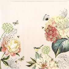 4x Single Table Party Paper Napkins for Decoupage Decopatch Craft Flowers Garden