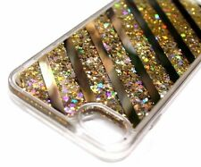 For iPhone 6s Gold Line Glitter Star Sparkle Liquid Waterfall Sparkle Skin Case