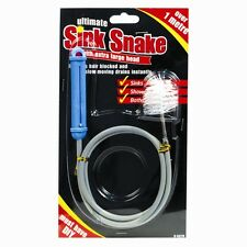 SINK SNAKE TOOL EXTRA LARGE BRUSH UNBLOCK BLOCKED DRAIN Sink/Shower Hair Remover