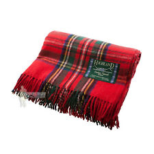 SCOTTISH 100% WOOL TARTAN RUG / BLANKET / THROW - STEWART ROYAL