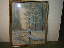 20th Century Winter Landscape Watercolor - Listed Raphuel Senseman - New Jersey