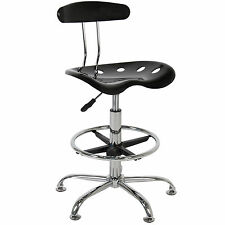 ABS Tractor Seat Adjustable Bar Stools Swivel Chrome Drafting Chair Modern Black
