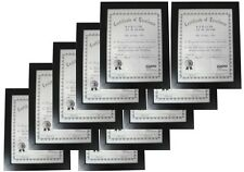 "10-Pack Flat Border Black Wood Certificate Diploma Document Frame, 8.5x11"" A4"
