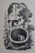 LUCIEN BOUCHER (1889-1971) : Le renard et le bouc. Lithographie signée, 1930