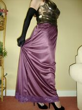 Aubergine / Grape Silky & Lacy Long Formal Length Half Slip Petticoat M-XXL BNWT