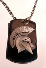 Military Dog Tag Metal Chain Necklace Ancient Greece Warrior Spartan Helmet New