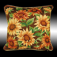 YELLOW SUNFLOWERS TAPESTRY BOTH SIDES THROW PILLOW CASE CUSHION COVER 17""