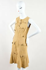 Moschino Cheap and Chic Tan Knit Button Up Sleeveless Cargo A Line Dress SZ 10