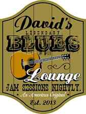 Personalized Blues Lounge Guitar Sign, Wall Mounted, Studio, Home, Music