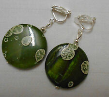 Handmade mother of pearl shell silver plated clip on earrings spotty olive green