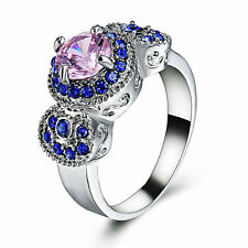 Pink & Blue Gemstone Fashion Jewelry Women Silver white gold Filled Ring Size 8