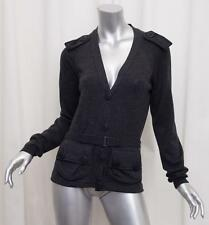 BURBERRY PRORSUM Womens Charcoal Gray MILITARY Long-Sleeve Cardigan Sweater L