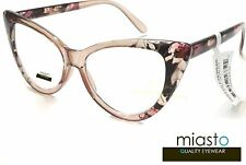 NWT$39.99 MIASTO VINTAGE BIG CAT EYE LARGE FUN READER READING GLASSES+1.75 BROWN
