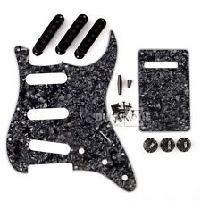 Black 3Ply Pearloid Strat Guitar Pickguard Back Plate Pickup Covers Knobs Tips
