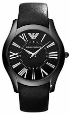 Emporio Armani AR2059 Super Slim Black Dial Black Leather Strap Men's Watch