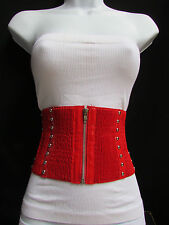 "New women high waist stretched red 6"" wide corset fason belt 25""-32"" SIZE XS S M"