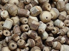 Wooden Beads w/ Bark. Spacer, rustic, boho, hippie, nature, all natural. 1 oz