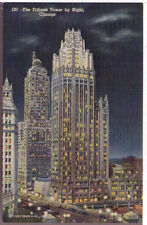 1930 Postcard Curt Teich Tribune Tower By Night Chicago Illinois Unposted