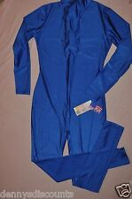 Nwt Bal Togs Adult size Petite Blue nylon  long sleeved Unitard item # 8815