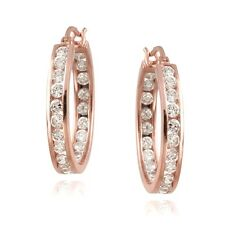 Rose Gold Tone on 925 Silver CZ Inside Out Channel-Set 20mm Round Hoop Earrings