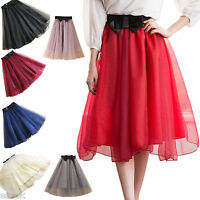 Womens Ladies Organza Elastic Waist Bow Knot A-Line Skirt Fits Size 6-8-10-12-14