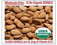 "15 lbs - BITTER RAW APRICOT ""KERNELS"" SEEDS  ORGANIC HUNZA VITAMIN READY TO EAT!"