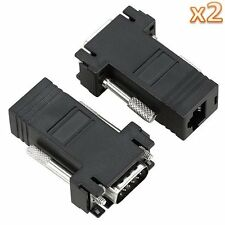 Black 2 PCS VGA Extender Adapter Convertor To CAT5/CAT5E/CAT6/RJ45 Cable Cord