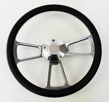 "New! Nova Chevelle Steering Wheel Black Grip 14"" Shallow Dish Billet Polished"