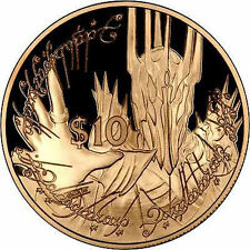 """2003 NEW ZEALAND 10 $ """"LORD OF THE RINGS"""" 24 K GOLD LAYERED PLATED COIN"""