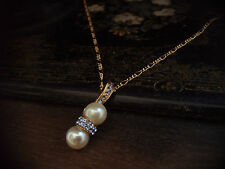 Elegant Vintage Light Sapphire Crystal & Pearl Drop Pendant Necklace. Signed
