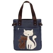 Fashion Cat Print Women Girls Canvas Handbag Shoulder Bag Large Tote Shopper Bag