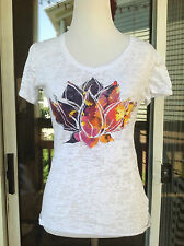 New Project Iris Woman's White/Purple Lotus Yoga Short Sleeve Top/Shirt  Size S
