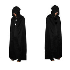 Gothic Hooded Velvet Cloak Wicca Robe Medieval Witchcraft Cape Halloween Costume