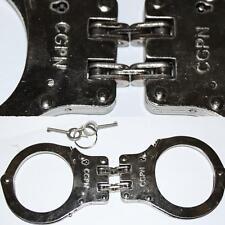 Handschellen mit Doppelkette Chrom STABILE Ausführung Polizei / Security 2 Schlü